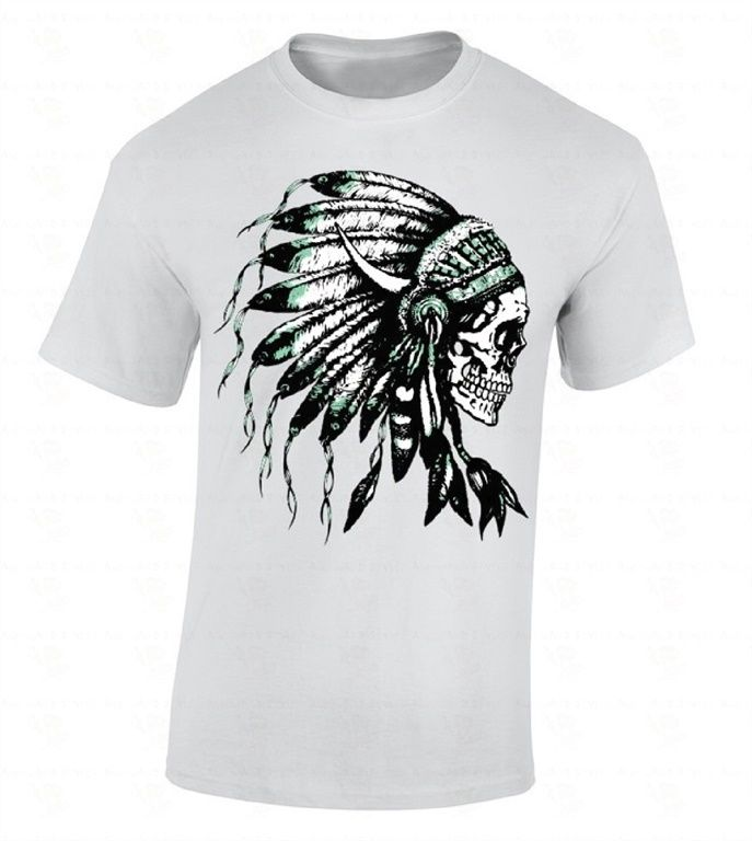 Headdress Skull T-SHIRT Native American Feathers Indian Tribal Southwest Shirt Summer O-Neck Hipster Tops top tee