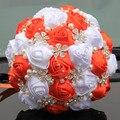 Популярные Orange Белый Свадебный Букет Ручной Работы Прочный Холдинг Цветы Шелковый Роуз Diamond Перл Искусственный Цветок Букеты ТЕХНОЛОГИЧЕСКАЯ КАРТА W224