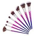 Nuevo 8 UNIDS Pinceles de Maquillaje Colorido Mango Espiral de Arco Iris maquillaje Pincel Polvos Sombra de Ojos Cepillo Cosméticos Conjunto de Herramientas