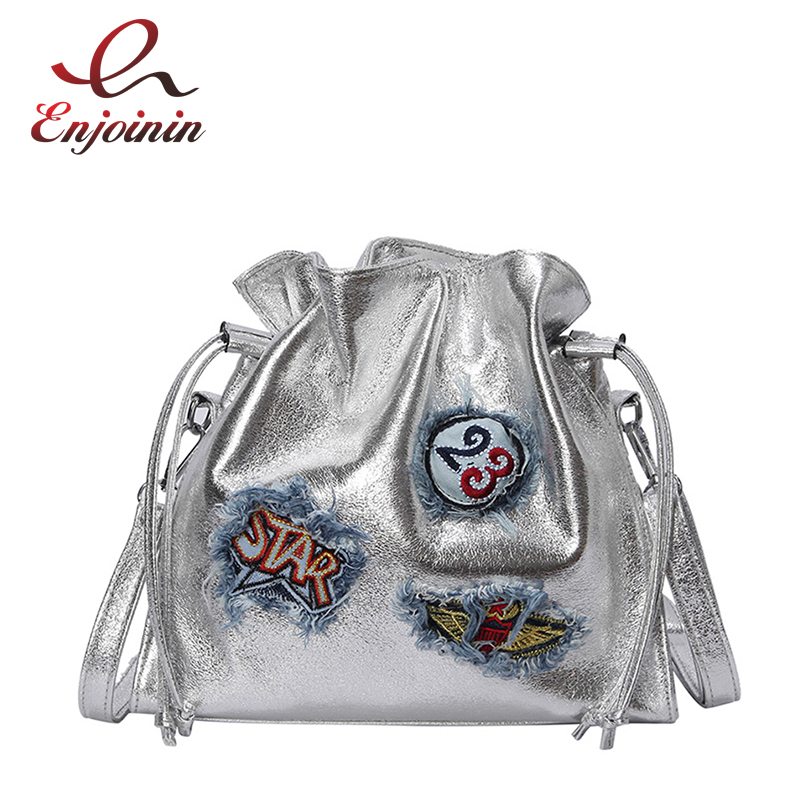 Trendy Embroidered Emblem Badge Fashion Pu Leather Bucket Design Ladies Casual Shoulder Bag Tote Women's Crossbody Messenger Bag 1
