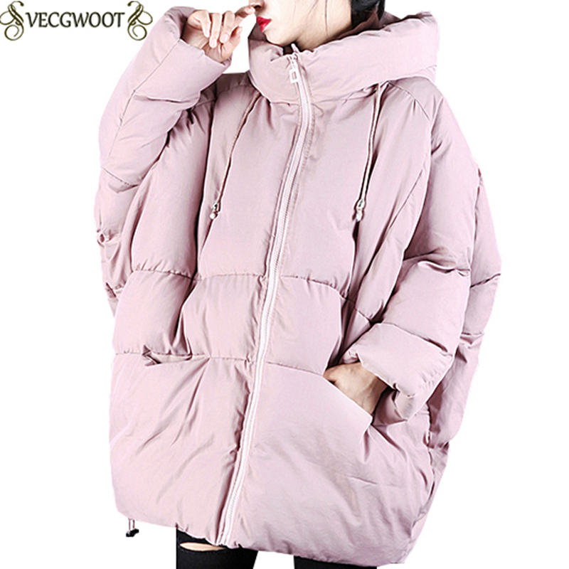 Long Parkas 2019 Winter New Hooded Down Cotton Jacket Women Solid Color Large Size Wadded Jacket Women Fashion Warm Jacket S705