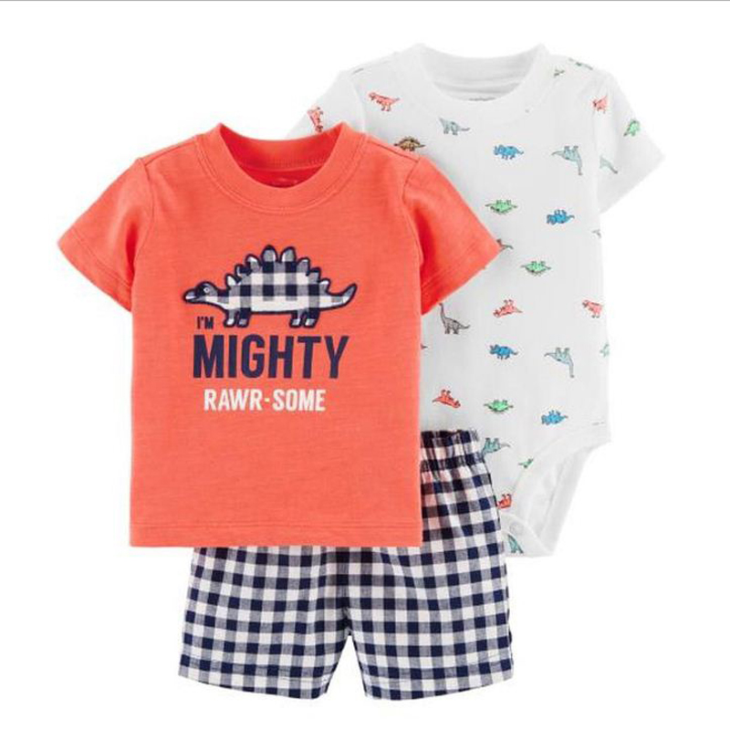 cartoon dinosaur short sleeve tshirt tops+romper+shorts clothes set for baby boy outfit newborn set 2020 new born summer suit