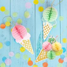 Ice Cream Party Honeycomb Cone Hanging Decoration Kids Birthday Summer Baby Shower Girl