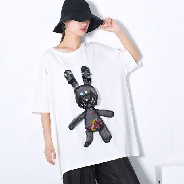 [EAM] 2018 New Autumn Summer Round Neck Short Sleeve Nailed Gauze Squins Split Joint Big Size T-shirt Women Fashion Tide JE949