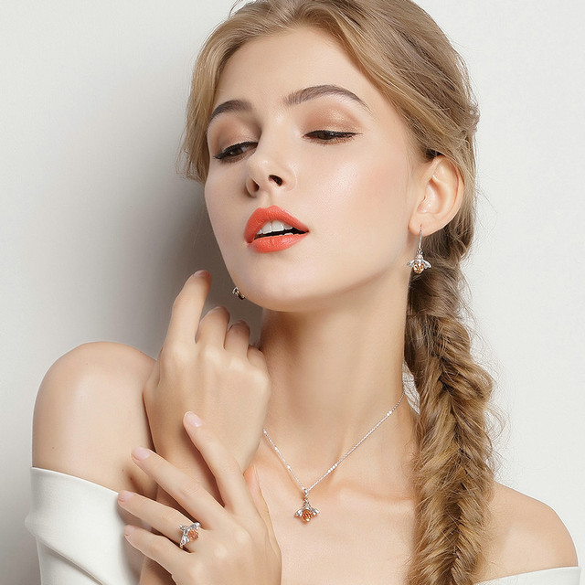 BAMOER 925 Sterling Silver Lovely Orange Bee Animal Pendants Necklace for Women Fine Jewelry CC035 3