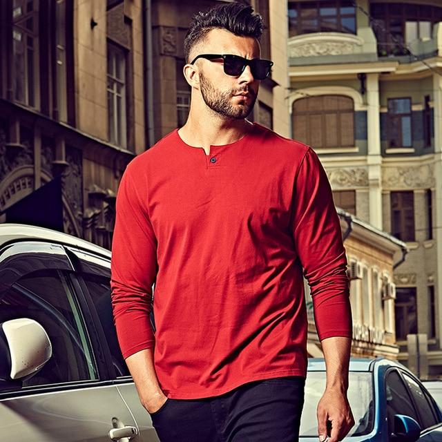 3XL 4XL 5XL 6XL Мужская Футболка Негабаритных футболки Мужчины 2016 Случайные хлопок футболка С Длинным Рукавом Мужчин Обычный Красный Серый Черный Белый 1044