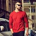 3XL 4XL 5XL 6XL Mens T-shirt de Gran Tamaño camisetas de Hombre 2016 Ocasional algodón de Manga Larga camiseta Hombres Llano Rojo Gris Negro Blanco 1044