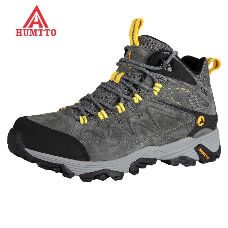 Nouveau hiver randonnée hommes en cuir véritable escalade chaussures bottes de montagne sports de plein air respirant baskets imperméable trekking