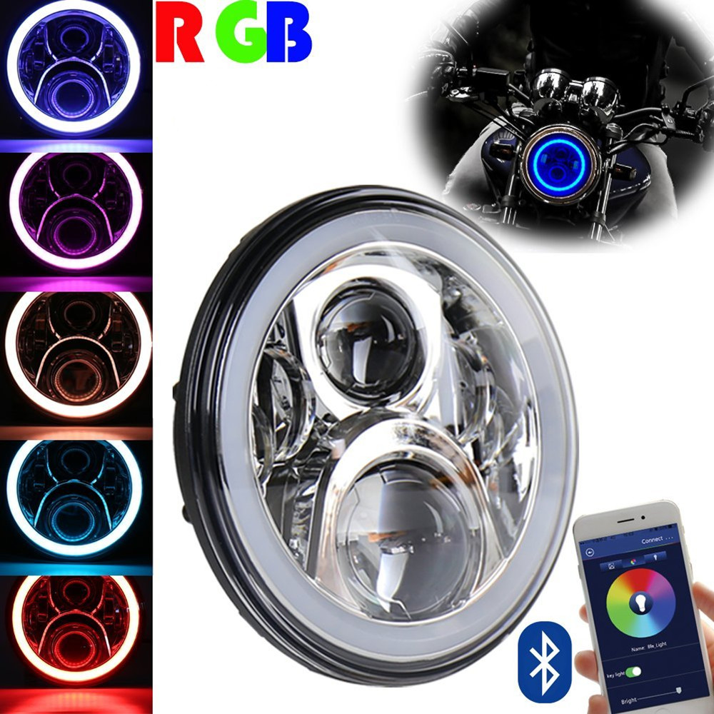 7inch Chrome DOT for Harley Motorcycle 60W LED Headlights RGB Halo DRL with Bluetooth APP Remote For Harley Davidson image