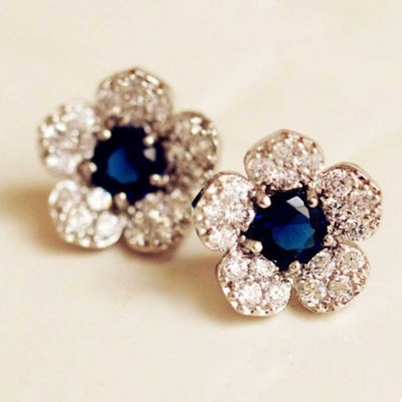 Hypoallergenic fashion silver Color earrings  with blue flowers crystal earrings Exquisite full of Crystal earrings female