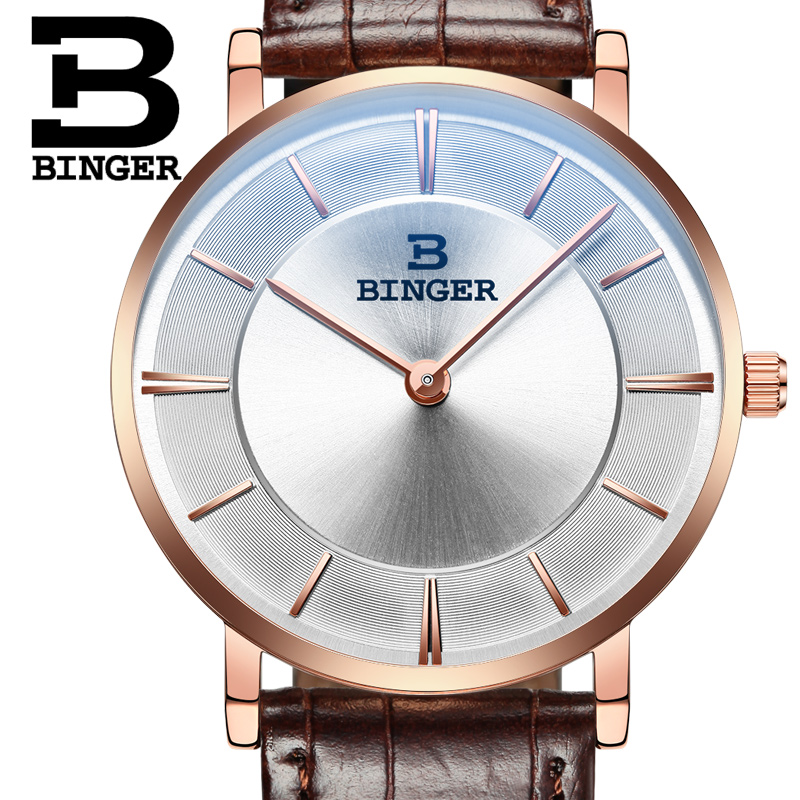 Switzerland BINGER mens watch luxury brand quartz leather strap ultrathin Wristwatches Waterproof 1 year Guarantee B9013-f