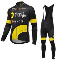 Direct Energie ALE 2016 ropa de Invierno ciclismo jersey del babero de la bicicleta maillot ciclismo ropa de polar desgaste de la ropa
