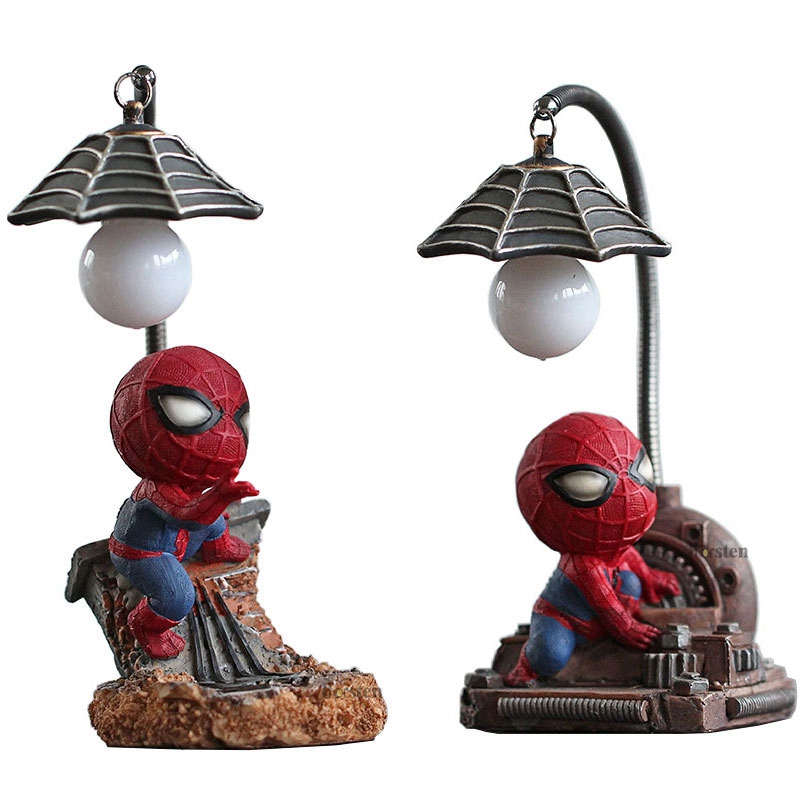 Cartoon Avengers Action Figures Spider Man Night Lamp Resin Children Bedroom LED Night Light for Boy Kids Xmas Creative Gift (2)