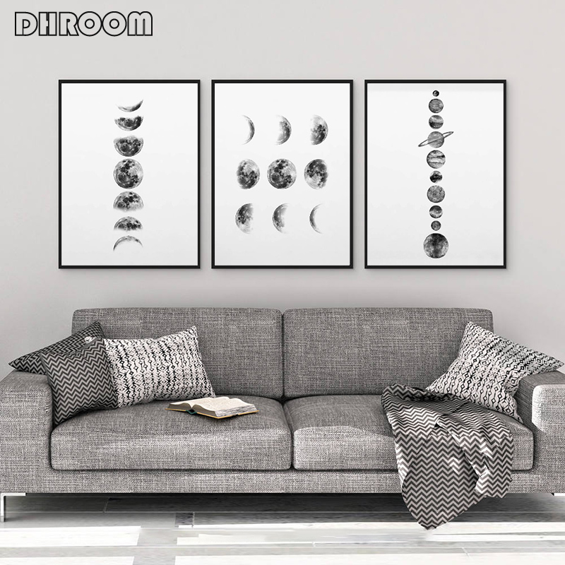 Solar System Wall Art Black And White Moon Phases Canvas Art Prints Minimalist Space Poster Painting For Living Room Home Decor