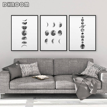 Solar System Wall Art Black and White Moon Phases Canvas Prints Minimalist Space Poster Painting for Living Room Home Decor