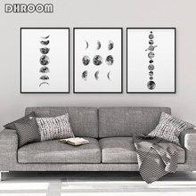 Sistema solar de arte de parede, arte na parede, preto e branco, faixas de lua, arte impressa, minimalista, espaço, pintura para sala de estar, casa decoração