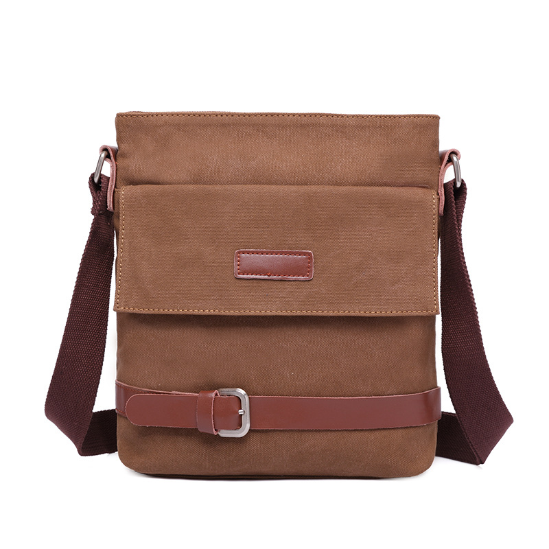 Men s canvas envelope single shoulder bag brown casual bag