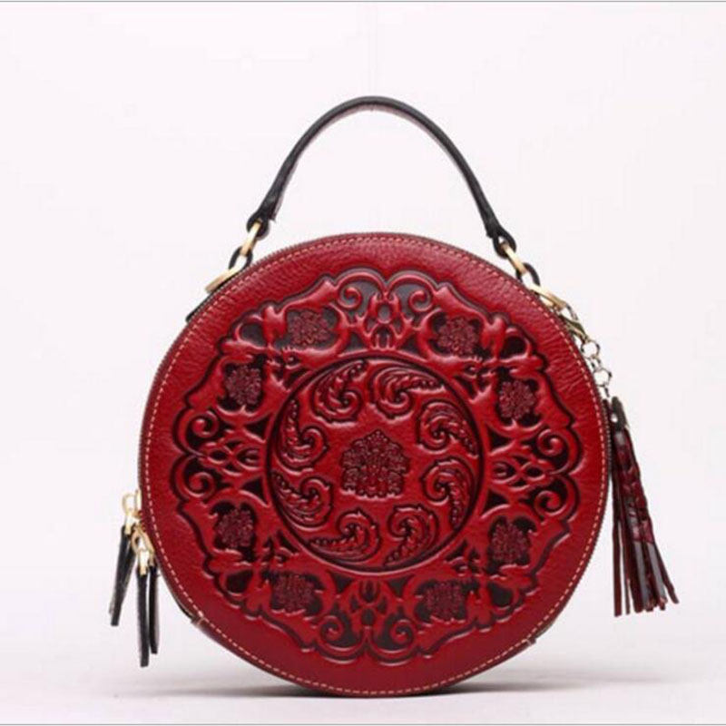 b396469d741c Ladies Shoulder Bag 2018 New Hot Chinese Style Circular Split Leather  Vintage Handbag Embossed Tassel Casual Fashion Bag red