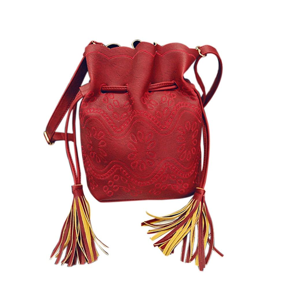 Vintage Tassel Women Leather Handbags Bucket  Bags Ladies Cross Body Shoulder Bag