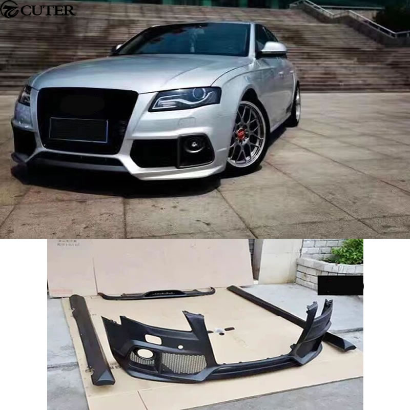 A4 B8 Unpainted Car Body Kit Auto Front Bumper Side Skirts Rear