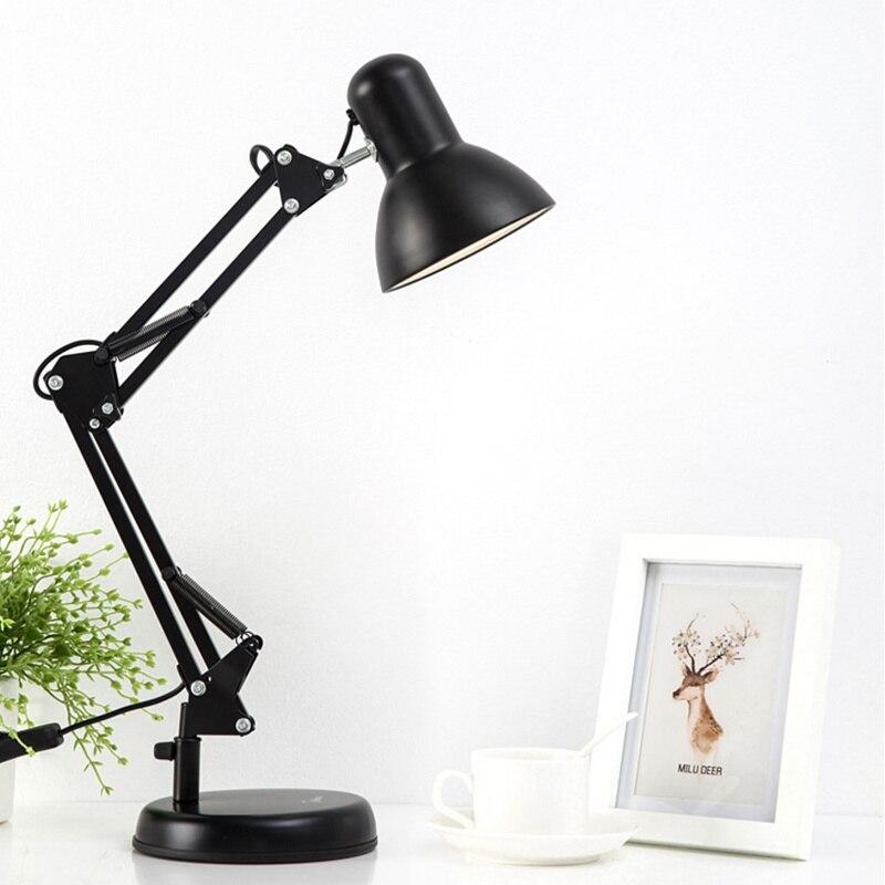 Flexible Swing Arm Clamp Mount Desk Lamp 110v 240v Black