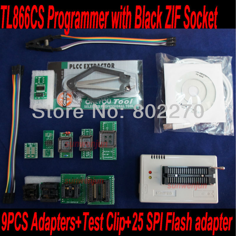 USB Bios Programmer TL866CS with Black ZIF Socket +9pcs adapters+test clip+25 SPI Flash adapter support in-circuit programming vs4800 usb universal programmer for bios gal eprom flash 51 avr pic mcu spi with 48pin zif socket support 15000 ic 4 adapters