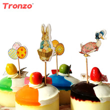 Tronzo 24pcs Easter Cake Topper Easter Party Supplies Bunny Rabbit Duck Egg Cupcake Toppers Birthday Party Decorations Kids