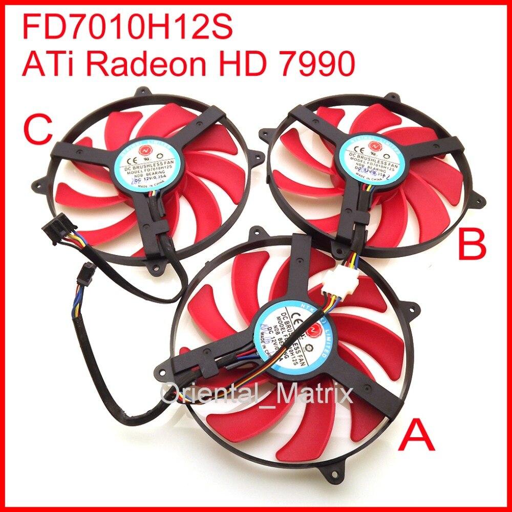 Livraison Gratuite 3 pcs/Lot NTK FD7010H12S 90mm DC BRUSHLESS VENTILATEUR 12 V 0.35A Carte Graphique Ventilateur De Refroidissement ATi Radeon HD 7990 De Refroidissement ventilateur
