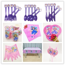 82pcs/set Sofia Princess Girls Party Supplies Tableware Plate Cup Flag Tablecloth Straw Napkin Birtday Decoration For Kid