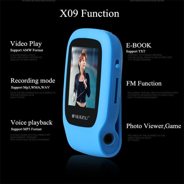 RUIZU X09 MINI MP3 Player Running Sports Clip Mp3 Walkman Support TF Card Music Player With 1.5 inch Screen E-Book Recording FM (5)