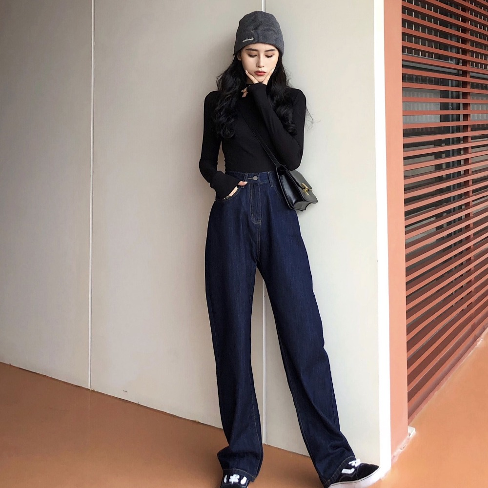 Women Wide Leg Loose Denim Blue   Jeans   Pant 2019 Female Long Trousers High Waist Chic Female Casual Pants   Jeans