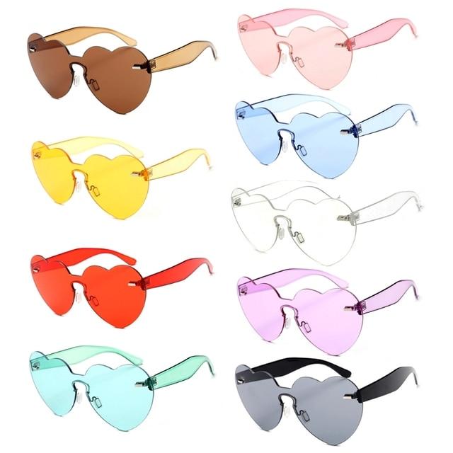 Da Forma do coração óculos de Sol Sem Aro Mulheres Amor Colorido Matiz Tons  Lente Transparente 74d8164e81