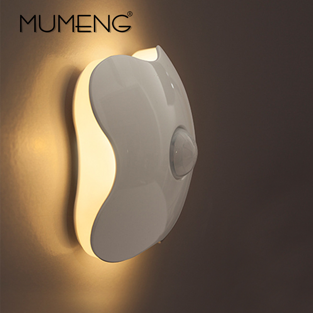 MUMENG Four Leaf Clover Wall Lamp USB Battery night light Control Wall Lamp Human Body Induction PIR Motion Sensor white
