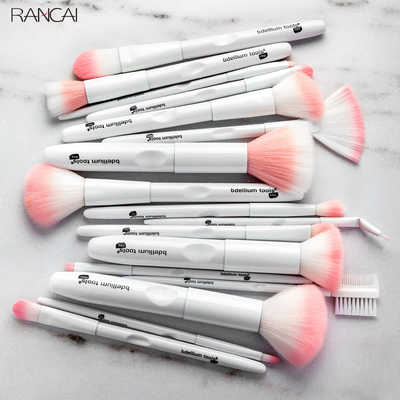 New 17pcs Makeup Brushes Tool White Color Cosmetic Brush Set Powder Eyeshadow Brush Facial Foundation Cosmetic Makeup Brush Kit new 11pcs cosmetic eyeshadow foundation concealer bamboo handle makeup brushes set p4 m3