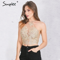 Simplee Apparel Elegant White Lace Crop Top Summer Style Beach Backless Short Halter Tops Sexy Gauze