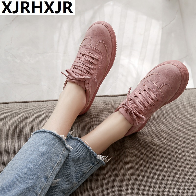 XJRHXJR Genuine Leather Women Sneakers Fashion Pink Shoes For Women Lace Up White Shoes Creepers Platform Shoes