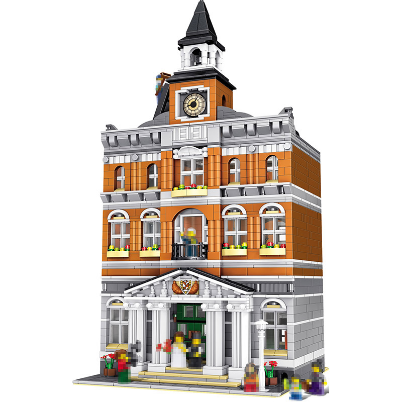 City Street Series Blocks Compatible with LegoINGlys Architecture Town Hall Sets Model Building Kits Set Assembling Toy 2861PCS a toy a dream lepin 15008 2462pcs city street creator green grocer model building kits blocks bricks compatible 10185