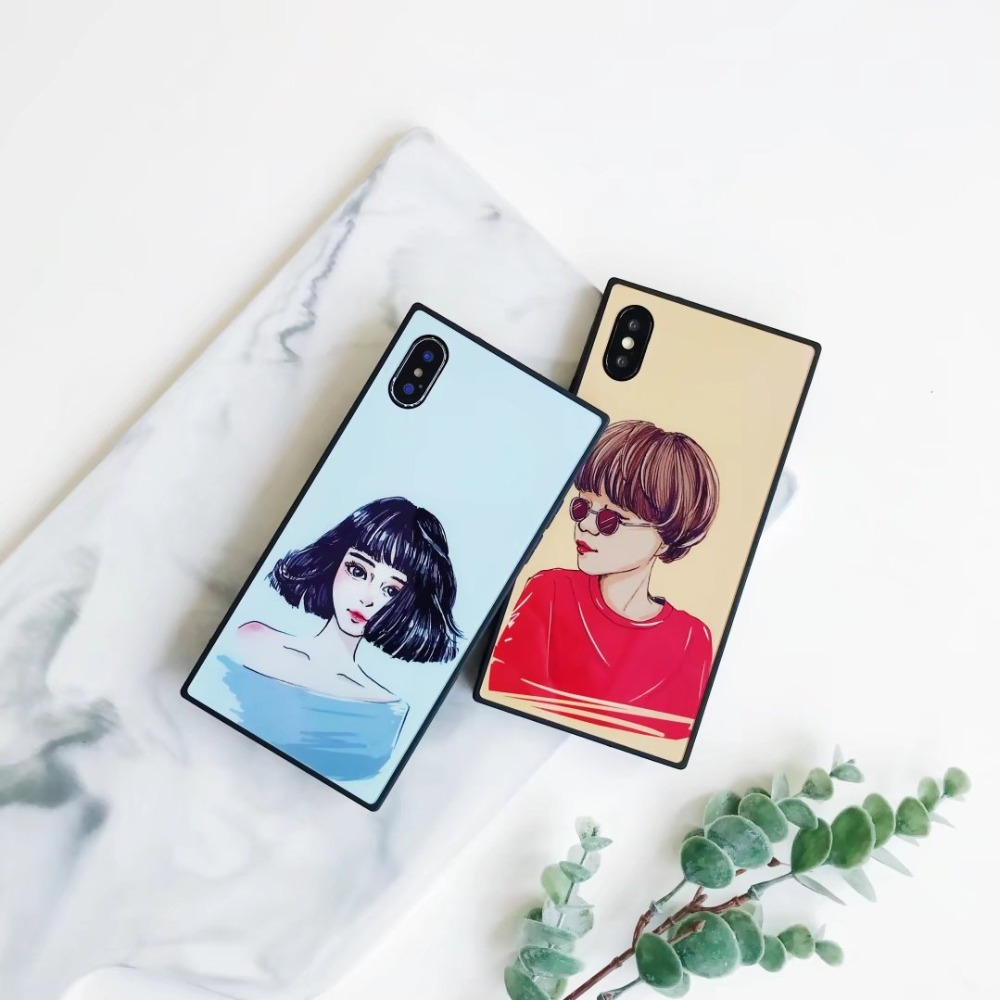SSS New hot pin toughened glass cell phone shell For iphone 6 6S 7 7PLUS 8 8SPLUS IPHONE X A case of a girls head for iphone
