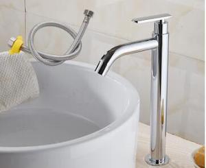 Image 5 - Tuqiu洗面器の蛇口単一のコールド浴室の蛇口洗面器ミキサー浴室のシンクの蛇口トールクローム真鍮の蛇口冷水