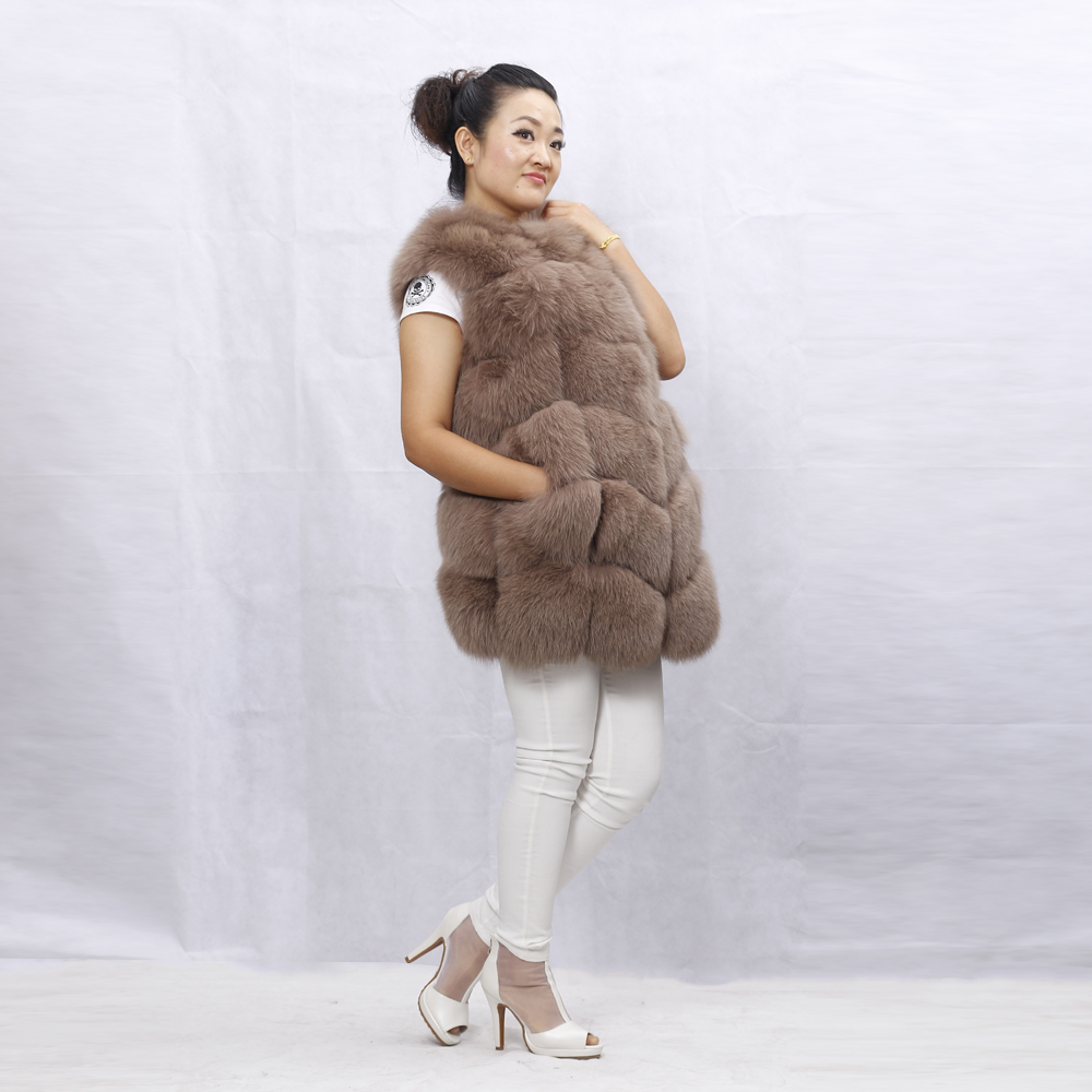Nouvelle Épaisse Nature Picture Confortable custom Luxery Mode Color Fourrure De Gilet Réel Manteau Manches D'hiver Renard Sans Chaud Solide Fourrures Véritable Et As Survêtement Femmes 5xvq6wA