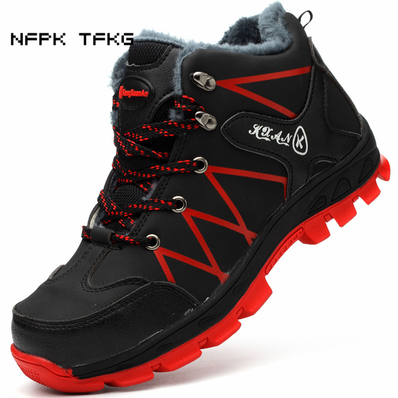 mens casual large size steel toe caps work safety warm plush cotton shoes genuine leather winter snow ankle boots anti-puncture цены онлайн