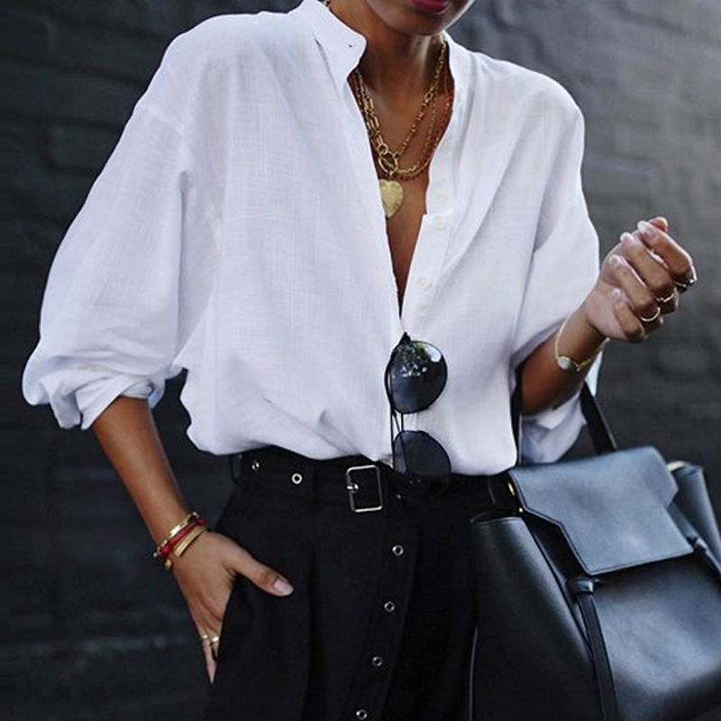 VONDA New Women Blouses 19 Summer Office Lady White Shirts Lantern Sleeve Buttons Deep V Neck White Blouse Sexy Plus Size Tops 8