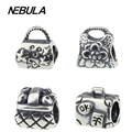 Authentic 925 Sterling Silver Vintage Sacos bolsa Bead Charme Com Flores Serve Para Pandora Pulseira DIY Jóias