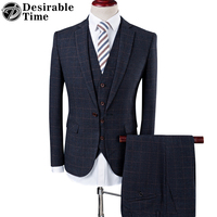 Desirable Time Brand Men Plaid Suits For Wedding Groom S 4XL Fashion Slim Fit Grey Business