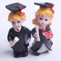 2 pcs one pair boy & girl graduated ornament resin figure academic dress photo status for class day gift souvenir