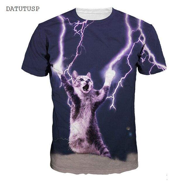 3fb967ea6 3D Impresso Gato Trovão T-Shirt Destemido Gato T Camisas Roupas Galaxy  Homens Tshirt Ocasional