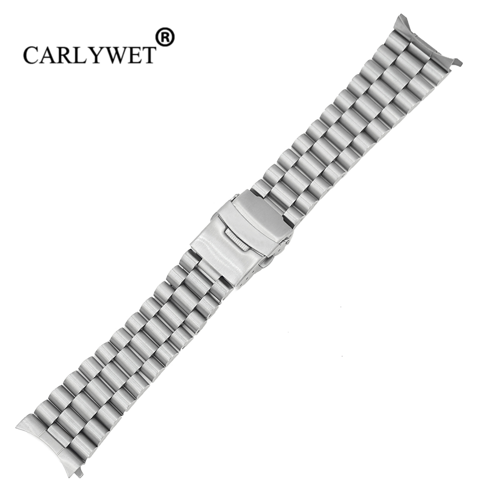 CARLYWET 20 22mm Silver Hollow Curved End Solid Links Replacement Watch Band Strap Bracelet Double Push Clasp For Seiko