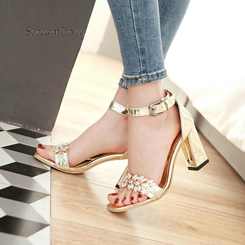 Summer Ankle Strap Thick High Heel With Buckle Sandals Fashion Crystal Open Toe Dress Women Shoes Gold Silver Brown summer women sandals ep11062 silver open toe cross ankle strap crystal high heel satin evening dress wedding shoes white ivory