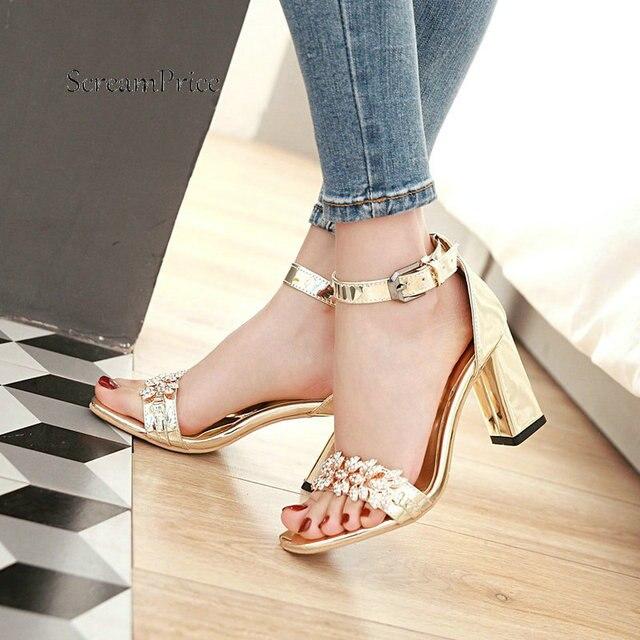 Verano tobillo Correa gruesa tacón alto con hebilla sandalias de moda cristal abierto dedo del pie vestido mujeres zapatos oro plata marrón