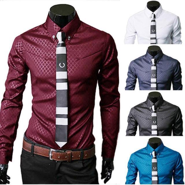 Новая Мода Мужская Бизнес-Люкс Стильный Slim Fit С Длинным Рукавом Повседневная Рубашка